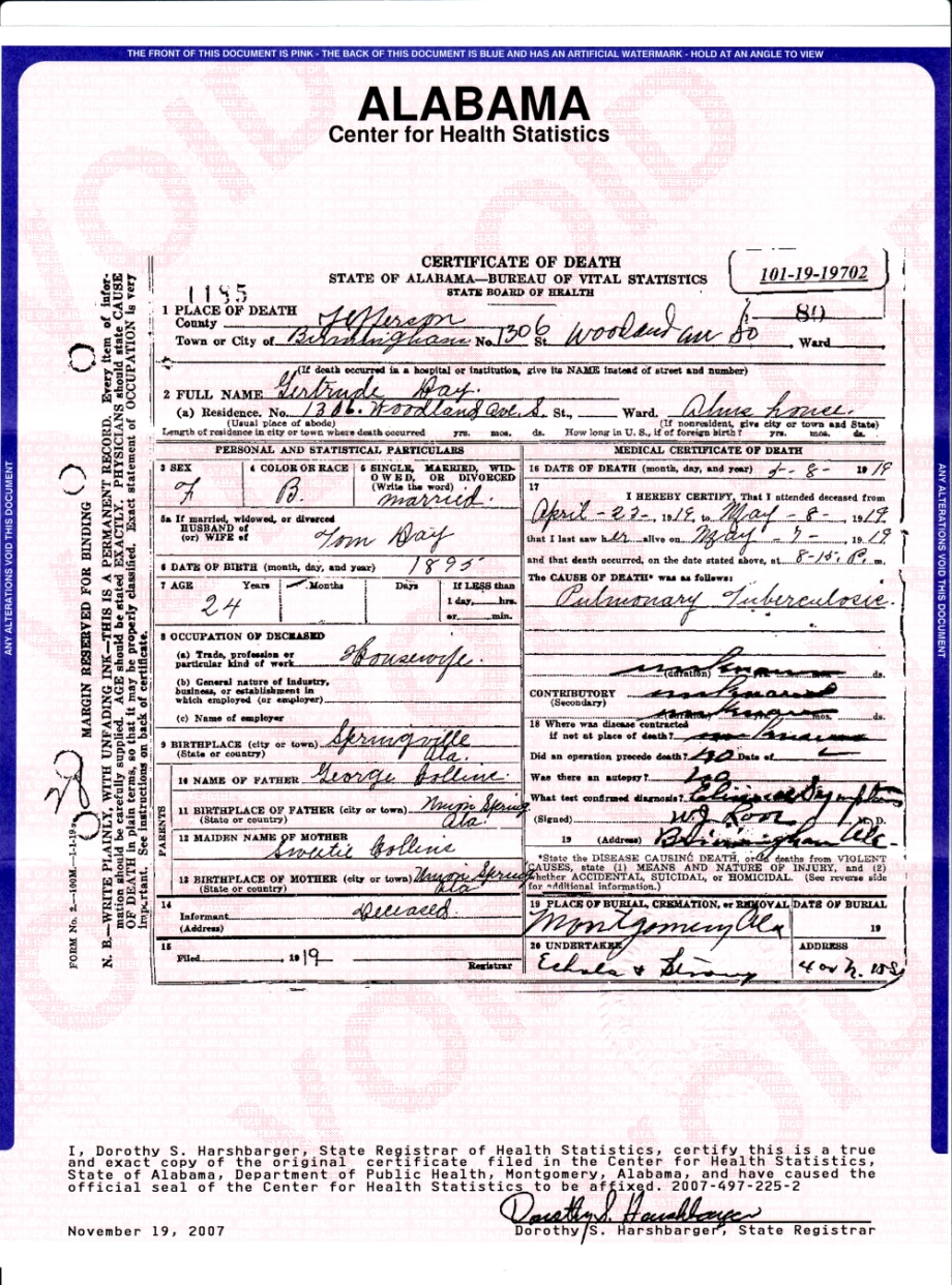 Gertrude ford days death certificate family originstree xflitez Choice Image